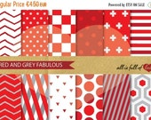 80% off DIGITAL Scrapbooking Paper Pack Red GREY Patterns Geometric 12/15