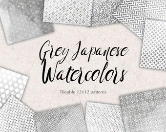 Grey Paper Pack Japanese Background Patterns Grey Watercolor Paper Kit JAPAN SCRAPBOOKING Watercolor Patterns Wedding Graphics