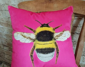Handmade Hot Pink Velvet Bee Design Square Cushion With Or Without Inner