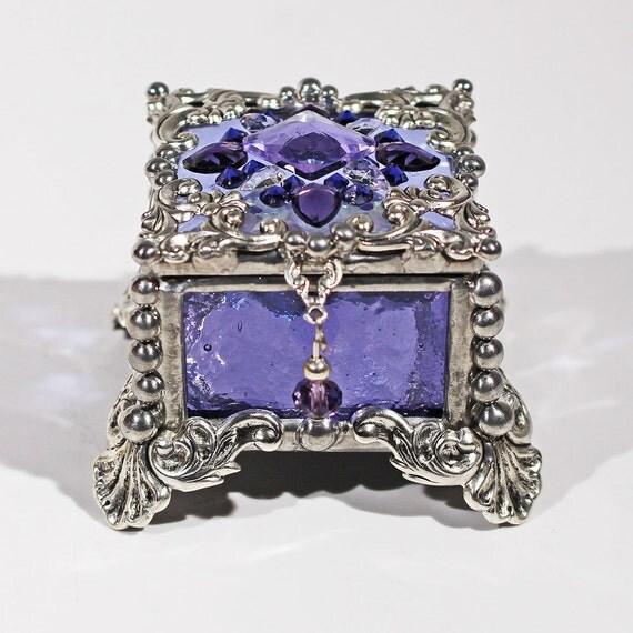 Jewel Encrusted Fairy Box, Stained Glass Box, Ring Box, Presentation Box, Wedding Ring Box, Keepsake Box, Glass Jewels, Engagement Ring Box