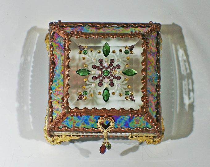 Jewel Encrusted Treasure Box -4x4 Burgundy Rippled Iridized