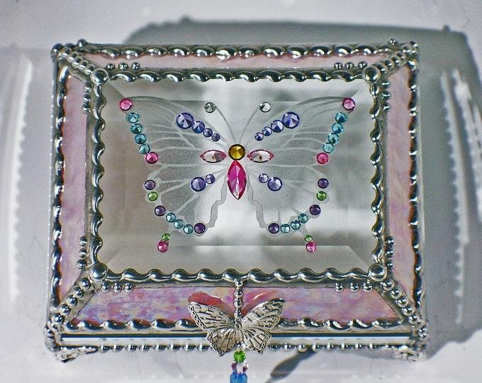 Jewel Encrusted Butterfly Treasure Box -4x5 Pink Rippled Iridized