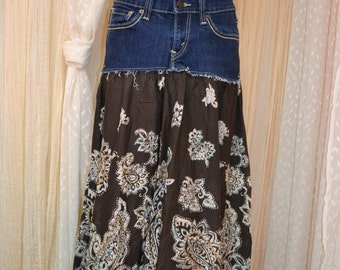 Upcycled denim skirt....western....boho...hippie...Levi...size 7....