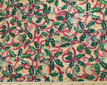 """Fabric Christmas ribbons new Holly 1 yard x 44-45"""" wide Golden Dor"""