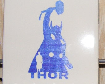 "Laser engraved 4.25"" x 4.25"" Square ceramic tile Thor Don Blake for Coaster or Plaque"