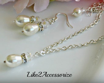 Bridesmaid Necklace Earring Set, Swarovski Pearl Tear Drop, Ivory White Pearl, Bridal Jewelry, Silver Chain Necklace, Bridal Accessories