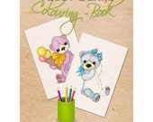 Coloring book for adults and children - OOAK Teddy bears by Softly Bear Paw - Printable - Instant Digital Download