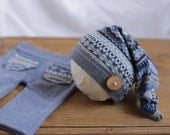 RTS Newborn pants and hat Newborn photo prop set Upcycled knot on top hat and pants Pants set Newborn boy Baby boy Photo props READY to SHIP