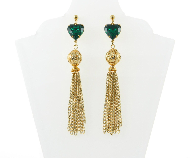 emerald tassel earrings by ellefulton on etsy