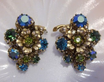 Rhinestone and Filigree Floral Earrings Made in Austria