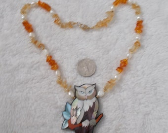 BEAUTIFUL Abalone & Citrine Owl Necklace-N1766