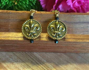 Earrings, Hand Wire Wrapped,  Fleur De Lis, Gold Tone, Sawarvoski Crystal Jet Black, Rope Accents, Antiqued Finish, Free Shipping # 123