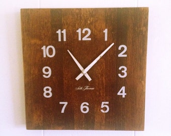 Vintage Seth Thomas Butcher Block Clock, wood wall clock, natural wood decor, farmhouse style wall decor, 1980 housewares, retro wood clock
