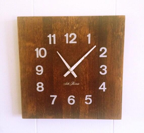 Vintage Seth Thomas Butcher Block Clock Wood Wall Clock