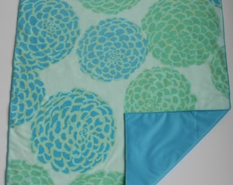 Waterproof Soft Baby Changing Mat-Diaper Changing Mat-Diaper Changing Pad-Waterproof Soft Baby Changing Pad Turquoise  Green Large Flowers