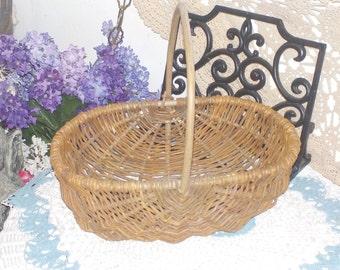 Wicker Branch Basket Oval Size with Branch Handle ,Ribbed Basket, Egg Basket, Grape Vine Basket :)