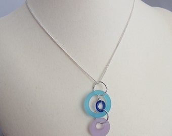 Recycled Glass Three-Ring Pendant on Adjustable Silver Plated Chain