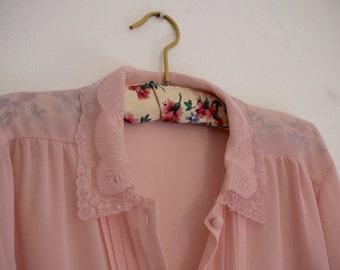 Sheer Pink Blouse - Pink Top - Ladies Pink Shirt