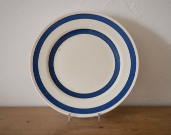 Blue and White Dinner Plate - Vintage Blue and White Striped Plate