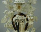 """Antique Wedding Cake Topper, Victorian Wedding Cake Topper Bride and Groom, """"Marriage"""", Millinery Flowers"""