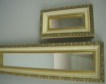 Vintage Decorative Mirrors, Wall Decor, Wall Mirrors, Rectangular Mirrors, Mid-Century, Gold and Off White, Pair of Mirrors