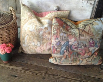 Feather Down Pillow Cushions, French Floral Tapestry Needlepoint, Velvet Backing, Chateau Chic