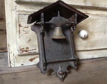 Rustic Victorian Bell House Rare Wood Bell House Hanging Door Bell Brass