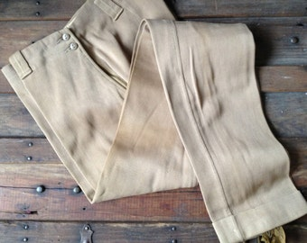 1930s 40s Camel Brown Cotton Twill Riding Jodhpurs Pants  ~ English Equestrian Riding Pants