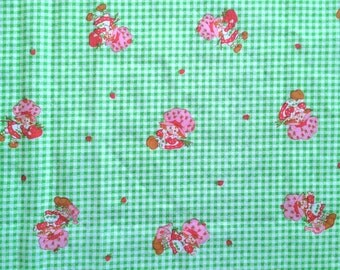 Retro 80s Vintage Strawberry Shortcake Fabric Lime Green and White Checkered Gingham By the Yard and So Berry Cute Bright Fun CBF