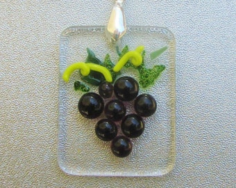 Fused Glass Grapes Pendant with Sterling Silver Bail Necklace