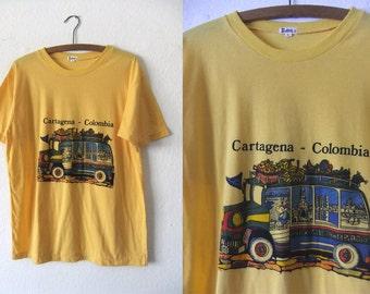 Cartagena Colombia Vintage Tee - Tourist Style Souvenir Super Soft and Thin 80s Burnout Travel T Shirt