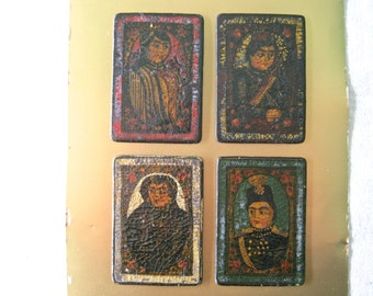 """Four Rare Persian Antique Papier Mache Playing Cards, Early 19th Century - Collectors, Persian """"As Nas"""" Game Cards, Antique x 4"""