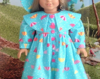 Rainy Day Coat Hat and Boots for American Girl Dolls