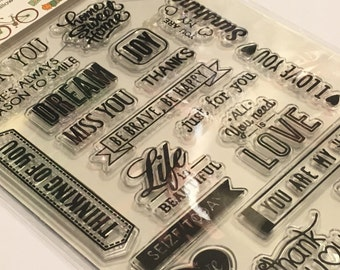 21 piece all kinds of sayings clear stamp set (A3)