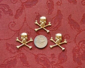 Three Small Skull and Crossbones Decorative Elements  SHIPPING INCLUDED