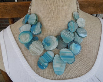 Vintage Barse Necklace.  Blue Agate Geode Statement Necklace, Sterling Silver Chain.