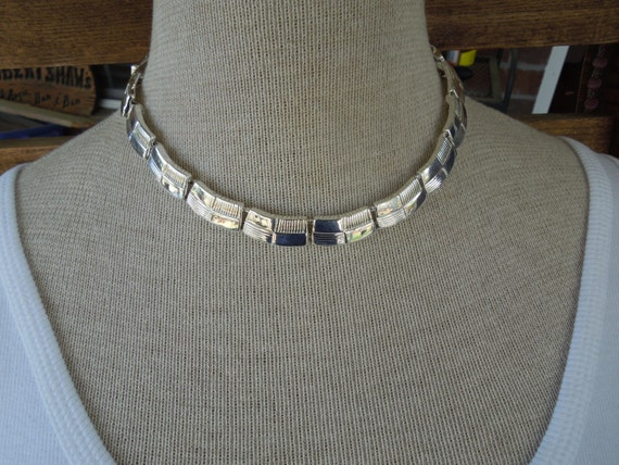 Vintage Napier Choker Necklace in Silver Tone Metal Links.  Signed Piece