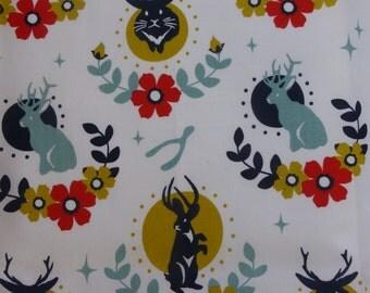 1/2 Yard Organic Cotton Fabric - Tall Tales Jackalope Cream