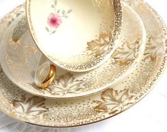 vintage tea cup trio tea cups and saucers teacup trio set  german porcelain german tea cups shabby chic 847
