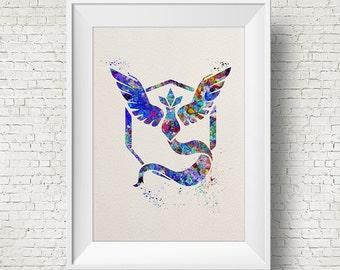 Ilustraciones equipo Pokemon místico vaya símbolo Anime acuarela arte impresión vivero arte cartel poster pared decoración arte Inicio decoración pared colgante de pared
