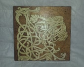 Wood Burned by Hand Celtic Lion Head Stash Box Jewelry Keepsakes