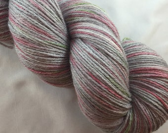 The Molly in the Ivy: Christmas yarn, red and green yarn, hand dyed sock yarn, grey sock yarn, fingering weight, holiday yarn