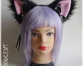Handmade human size unique furry nekomimi / cat ears headband ~ You can choose between the inner colour!
