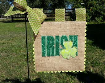Burlap Garden Flag   Custom St Patricks   Irish   Embroidery Applique  Shamrock Clover