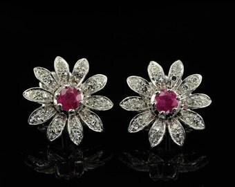 Spectacular vintage ruby and diamond daisy earrings