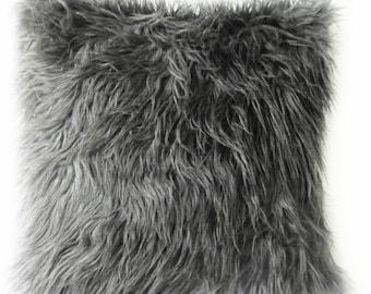 """Grey Fur Pillow Cover. Mongolian Faux Grey Fur Decorative Pillow. -Grey  Fur Pillow. 16"""",17"""",18"""",20"""" 24"""" 26"""",Euro Sham or Lumbar Pillow."""