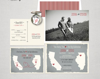 Destination wedding invitation Two States Two Hearts One Big Celebration Wedding Invitation and Fun  Mad Libs Style RSVP Cards Design fee