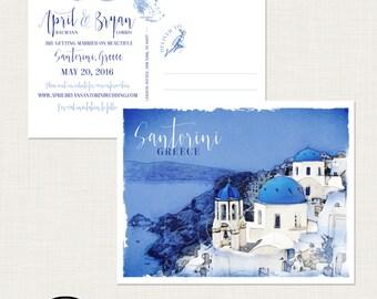 Destination wedding invitation Santorini Greece Greek Island Save the Date Postcard European  illustrated wedding invitation Deposit Payment