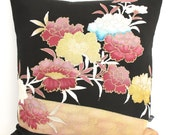 Limited Edition Oriental Cushion Pillow in a Dusty pink & Black Floral design made from rare Japanese Kimono Silk 35x35cm Mother's Day Gift