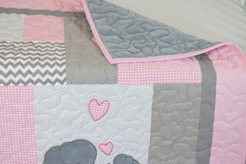 Pink Baby Blanket Elephant Crib Quilt Girl Bedding